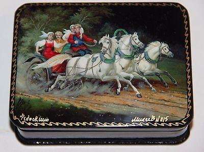 Troika Pferde, Russische Lackdose, Miniaturmalerei, Fedoskino, RAR