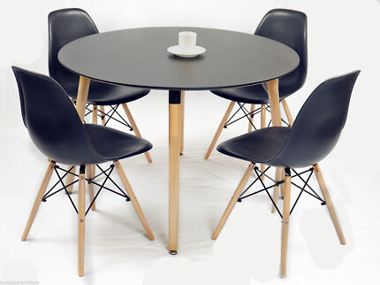 Oslo 5pc Round MDF Dining Table with Timber Legs Clearance
