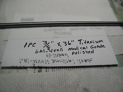 38 Titanium Round Rod Bar 6 Al-4veli  1 Pc. 36 Long Medical Grade 23