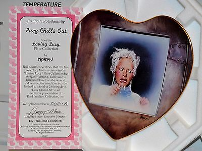 "Lucille Ball I LOVE ""LUCY CHILLS OUT"" FREEZER Hamilton HEART PLATE-NEW IN BOX"