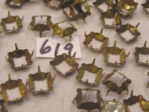 Old Vtg 10mm Square Aged Brass Haskell Look Prong Set Rhinestone Setting Jewelry