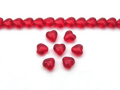 68 Czech glass Heart shaped druk beads 6x6mm Light Siam, red color, strung