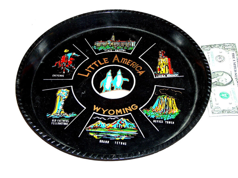 """Little America Wyoming 12"""" Round Cheyenne Capital Monument Souvenir Serving Tray"""