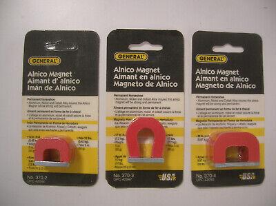 3 General Tools 370-2 -3 -4 2 3 4 Oz. Alnico Horseshoe Magnets - New