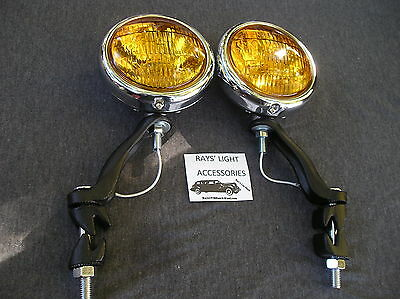 NEW PAIR 30'S `~ 40'S ~ 50'S SMALL AMBER VINTAGE STYLE FOG LIGHTS IN 6-VOLT