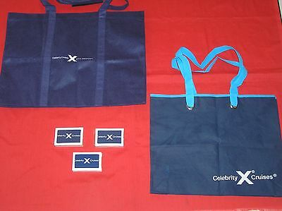 Lt 6   3 Celebrity Cruise Ship Tote Bags Blue And 3 Celebrity Playing Cards
