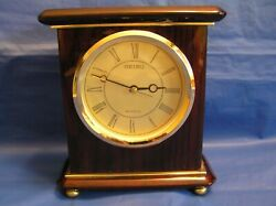 3pt8 SEIKO QHG403BL DESK SHELF MANTEL CLOCK CHERRY WOOD, BRASS & GLASS STYLE