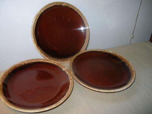 "Vintage Set of 3 Hull Brown Drip Glaze Dinner Plates 10.5"""