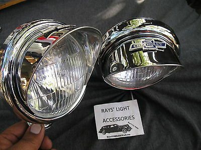 NEW PAIR OF SMALL 6-VOLT VINTAGE STYLE CLEAR COLOR FOG LIGHTS WITH VISORS B/T