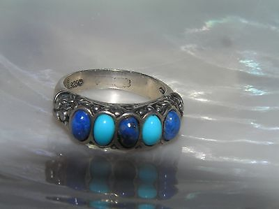 Estate 925 Hallmarked Sterling w Alternating Turquoise & Lapis Lazuli Band Ring