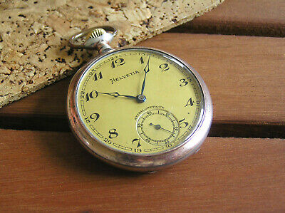 HELVETIA MILITARY ANTIQUE POCKET WATCH IMPORT SILVER FRAN BOLIDAN METAL DIAL