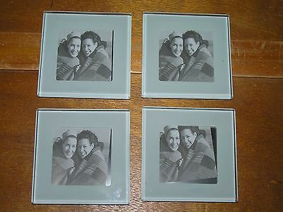 Estate Lot of 4 Heavy Beveled Edge Frosted Glass Square Coaster Picture Frames –