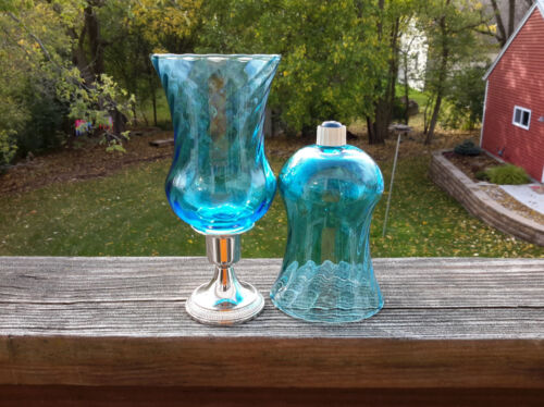 2 HOMCO Blue Traditions PEG Votive Cup Candle Holders w/Grommets Turquoise Aqua