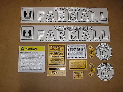 Ih Farmall Super C New Decal Set For Tractors  18-13-182