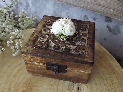 Ringkissen Ringbox Ringhalter eckig Holz braun creme für Eheringe Hochzeit Liebe