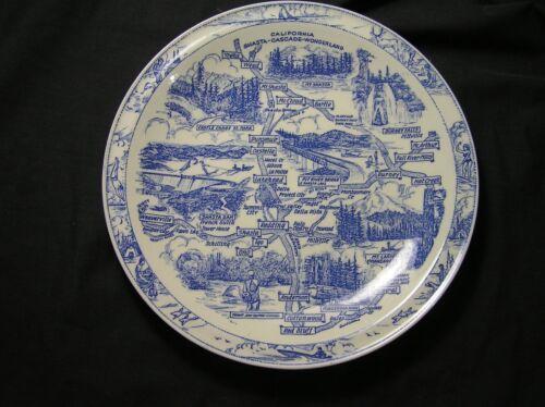 CALIF SHASTA-CASCADE WONDERLAND Vintage Vernon Kilns Souvenir Plate USA