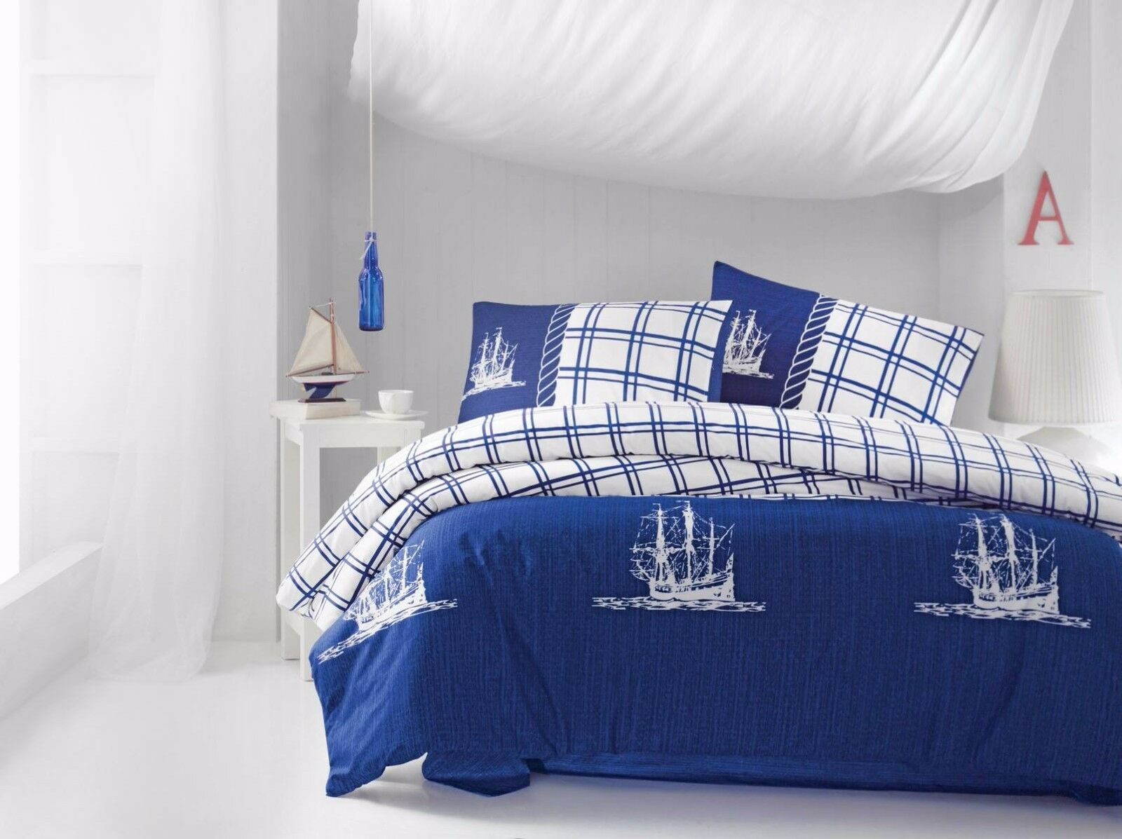 Blue Nautical Duvet Cover 100 Cotton Blue Bedding Set Bed
