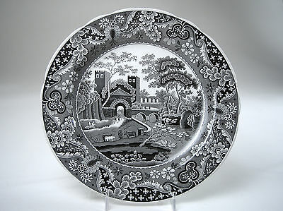 "SPODE Archive Collection TRADITIONS Series 'CASTLE' 10.5"" Black & White Plate Ex"