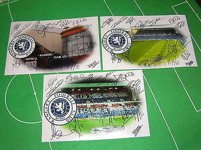 3 x Different Glasgow Rangers FC Ibrox Photographs Each Signed x 16 2014 Squad