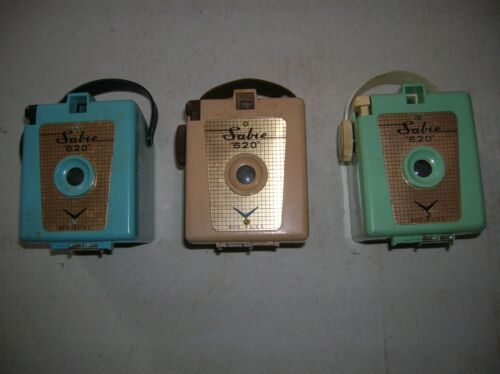 THREE (3) VINTAGE SABRE 620 CAMERAS BLUE, BIEGE, GREEN PLUS MANUAL
