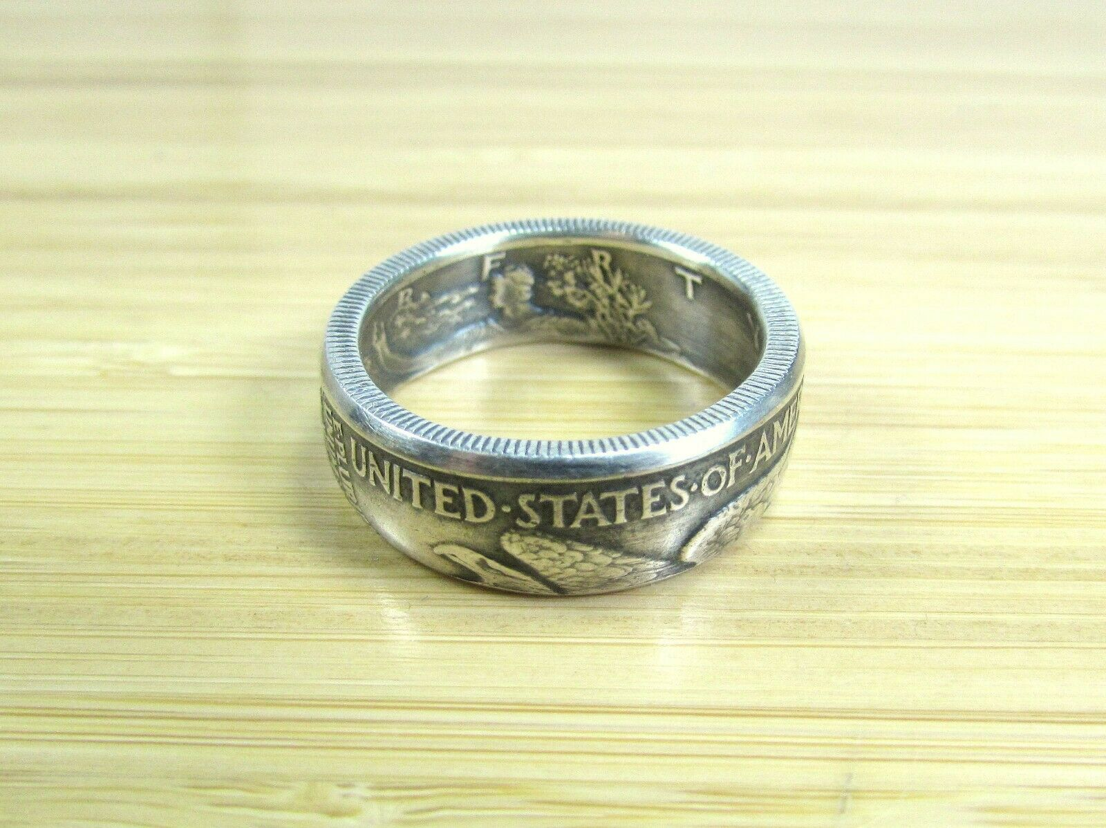 WALKING LIBERTY Silver Half Dollar U.S. Coin Ring (Sizes 6-14) Custom Hand Made