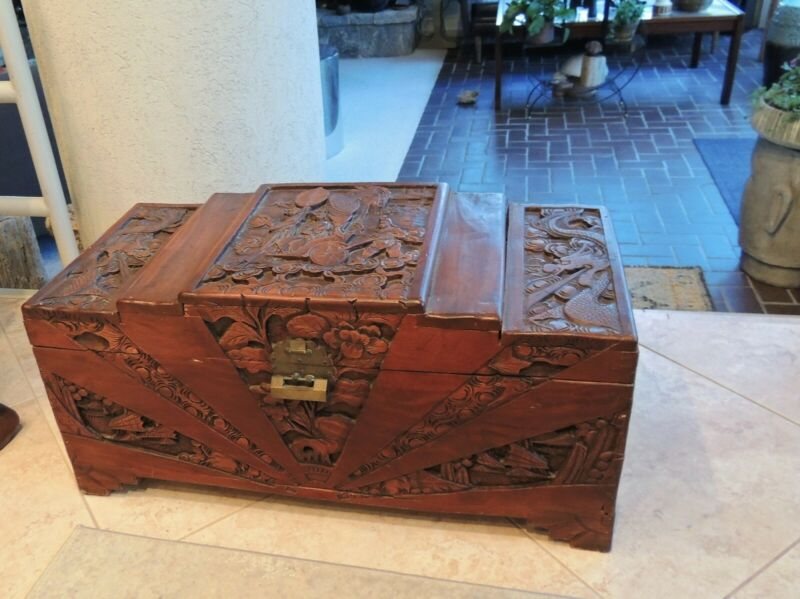 Vtg Asian Hand Carved Wood Orientalist Blanket Chest High Relief Art Trunk