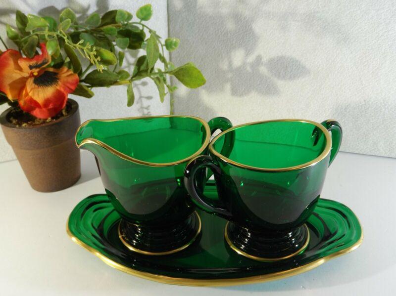 Vintage Mini Creamer Open Sugar W/Tray Emerald Green W/Gold Trim, Rare glassware