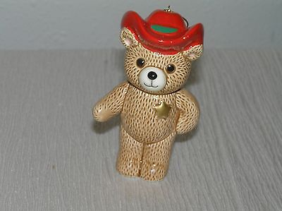 Ebeling & Reuss 1985 Ceramic Brown Teddy Bear with Red Sheriff's Hat & Badge