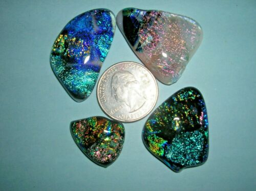 L 13 Dichroic glass cabochons cabs, extra special colors low price
