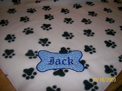 DOG CAT FLEECE BLANKET PERSONALIZED Handcrafted 36x30 in med white w/paws SALE!