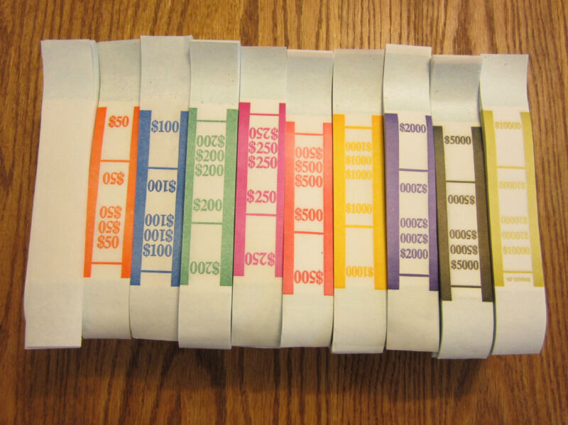 100  SELF SEALING CURRENCY STRAPS MONEY BILL BANDS PMC COMPANY BRAND
