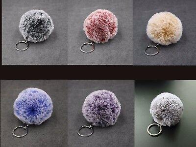 Faux Fur Pom Pom Key Chain Bag Charm Fluffy Puff Ball Bow Key Ring Car Pendant
