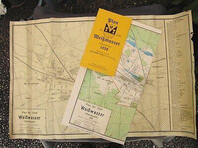 2 STADTPLÄNE von WEISSWASSER (Oberlausitz) 1938 * ORIGINAL & REPRINT 2010/ DN454
