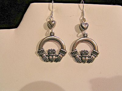 50% OFF ORIG. PRICE! *SALE* HANDCRAFTED CELTIC CLADDAGH EARRINGS.LG.SILV