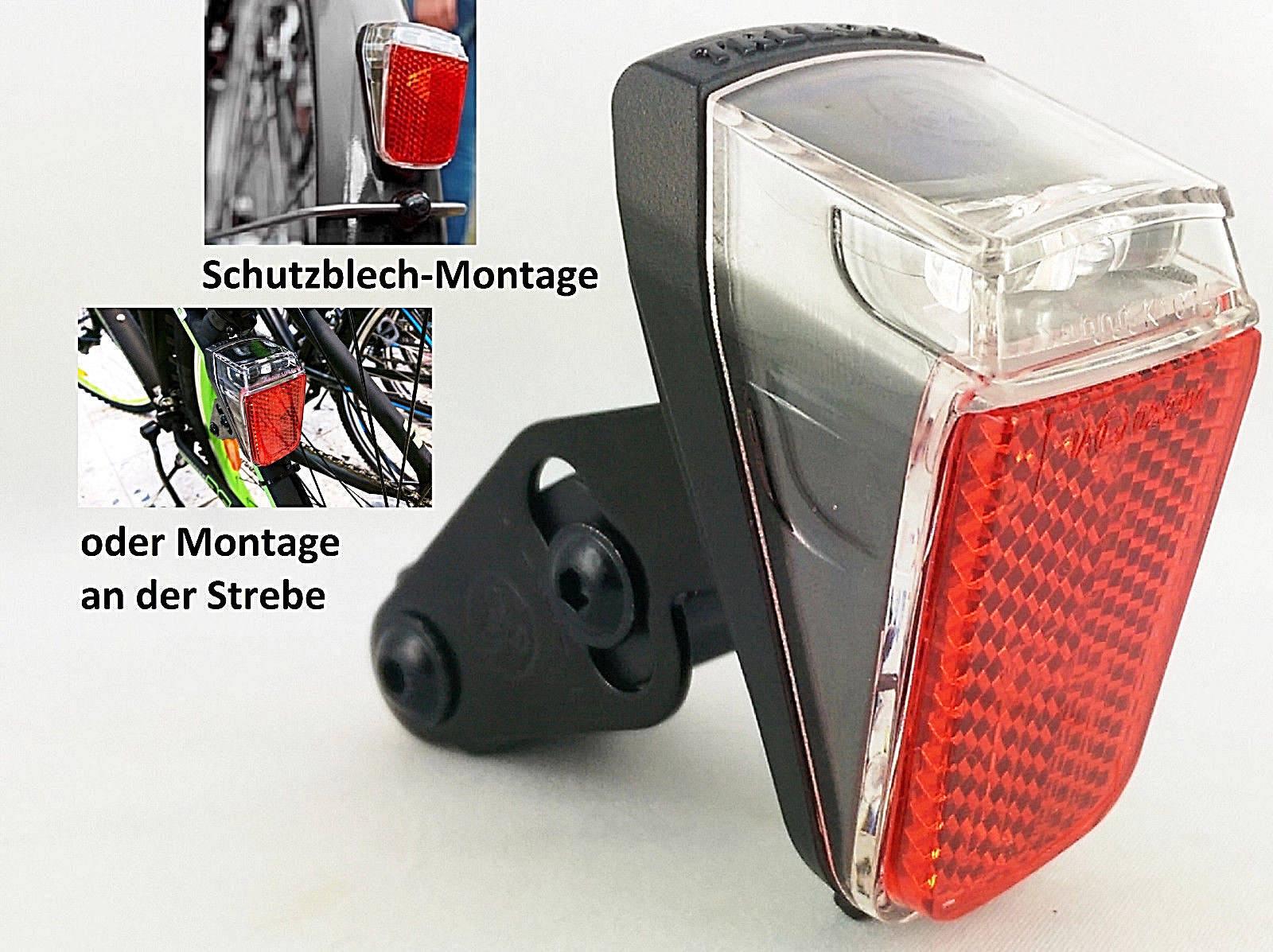 LED Fahrrad Rücklicht Beleuchtung E-Bike 12Volt Schutzblech Trelock Duo Top Neu