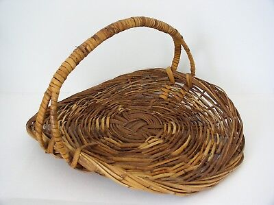Vintage Wicker Rattan Gathering Basket With Handle Extra Large Size  22