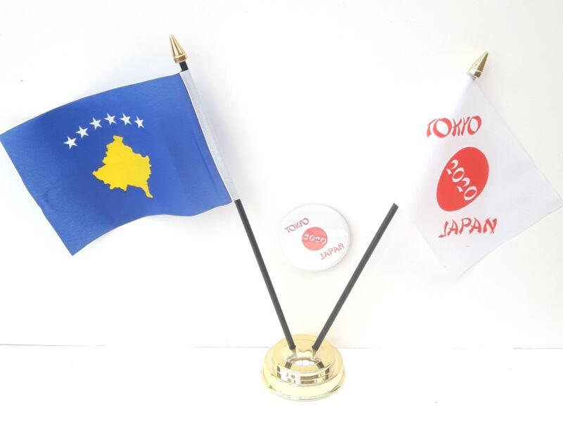 Kosovo & Tokyo Japan Olympics 2020 Desk Flags & 59mm BadgeSet