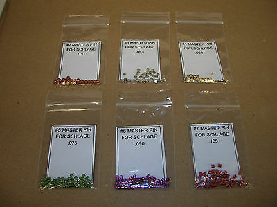 Master Pin Refill Packs For Schlage Lock Rekey Kit. Contains 50 Pins Each Size