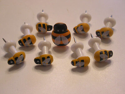 Push Pins Thumb Tacks Queen Bee/ Baby Bees Novelty Decorative Set of 9 New (Baby Novelties)
