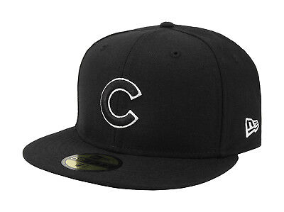 New Era 59Fifty Hat MLB Chicago Cubs Apparel Mens Womens Black White 5950 Cap