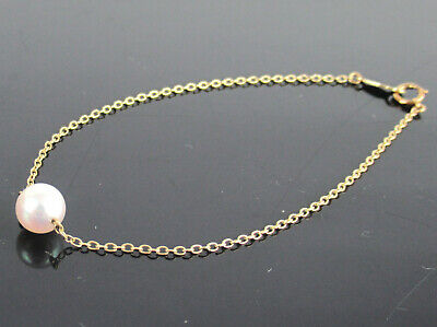 Authentic MIKIMOTO Genuine 7mm Akoya Pearl K14 Yellow Gold Chain Bracelet