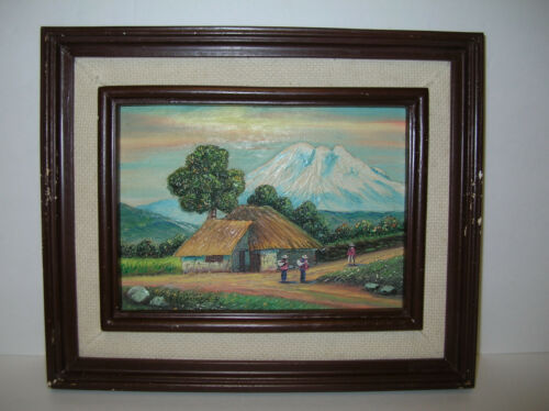 CHIMBORAZO++VOLCANO++VTG++FOLK+ART++LOW++BAS-RELIEF++CARVED++WOOD++3-D+PAINTING+