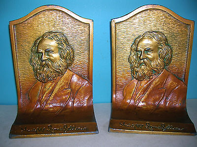 Antique Longfellow poet literary bookends by K&O, polychrome, 1920s