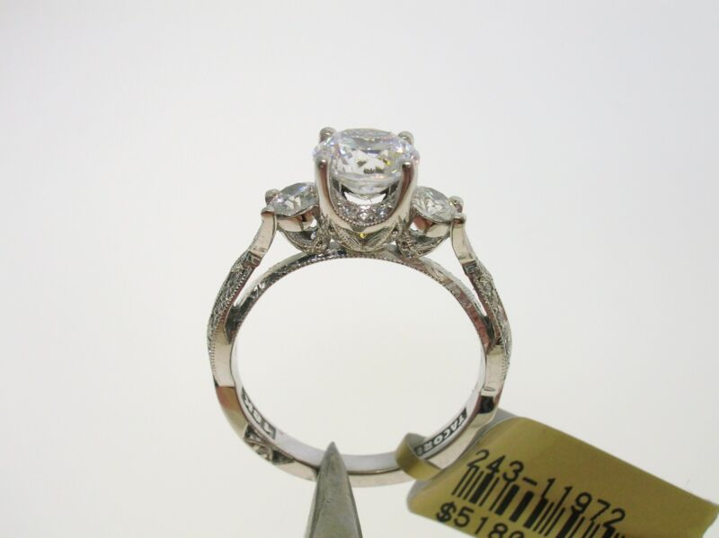 Tacori 18k White Gold Semi-mount 0.52 Ctw Diamonds - Size 6.5 Us - Retail $5180