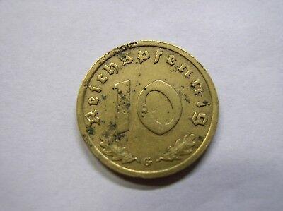 3. Reich , 10  Reichspfennig 1936 G  ss-vz , Jäger 364 , # 277