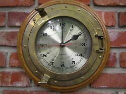 3pt8 NAUTICAL MARINE PORTHOLE QUARTZ WALL CLOCK OAK BRASS GLASS HEAVY 14 ST135