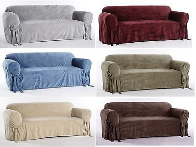 Microfiber Plush Velvet Sofa Loveseat Arm Chair Covers Slipcover Soft  Durable Plush Microfiber Sofa