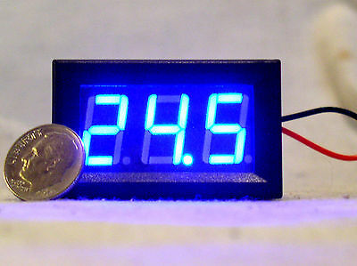 1 New Blue Led 3 Digit 2 Wire Voltmeter 3-30v Car Rv Bench Dc Volt Panel Meter