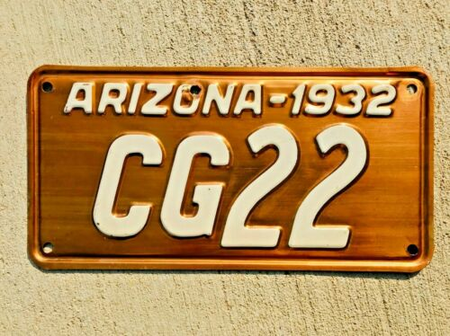 1932 Arizona Copper License Plate Original Condition DMV Clear Hot Rod 32