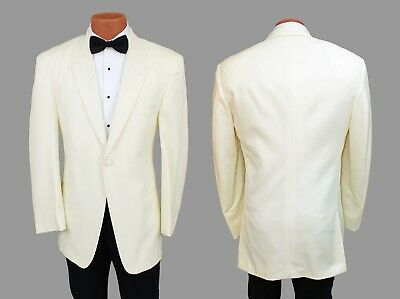 Ivory Cream Perry Ellis 1 Button Tuxedo Dinner Jacket Off White Classic Tux Coat